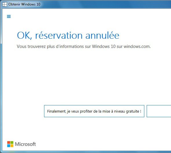 Confirmation d'annulation de réservation de Windows 10