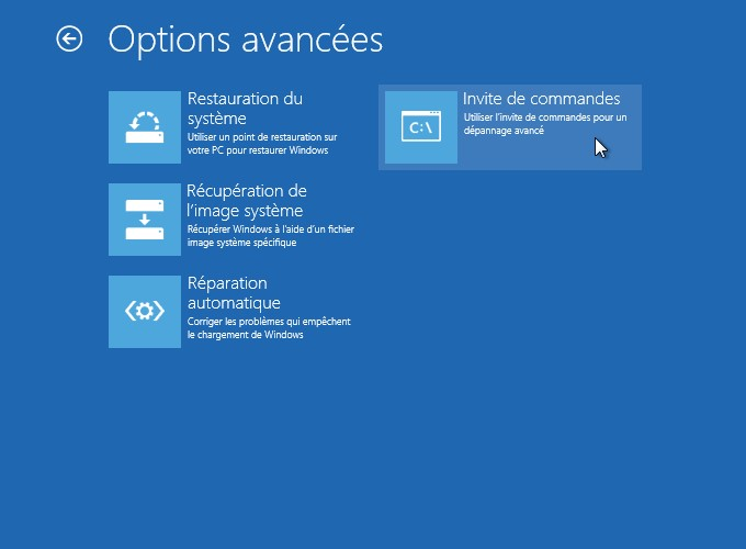 Windows 8 options avancées